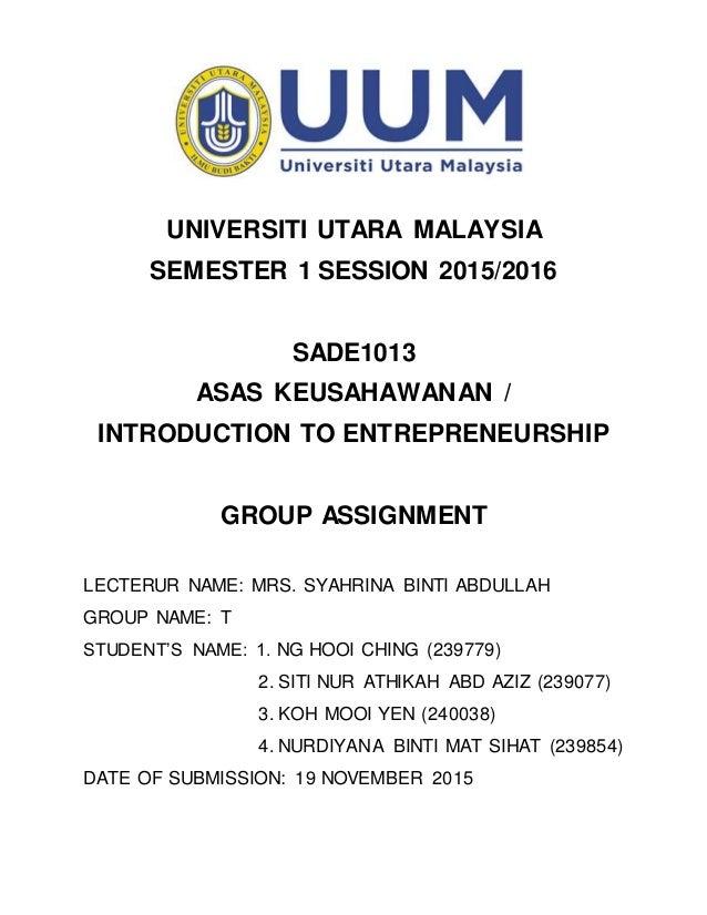 "assignment 5 intro to entrepreneurship Introduction to entrepreneurship / unit i handout i6g, ""assignment."