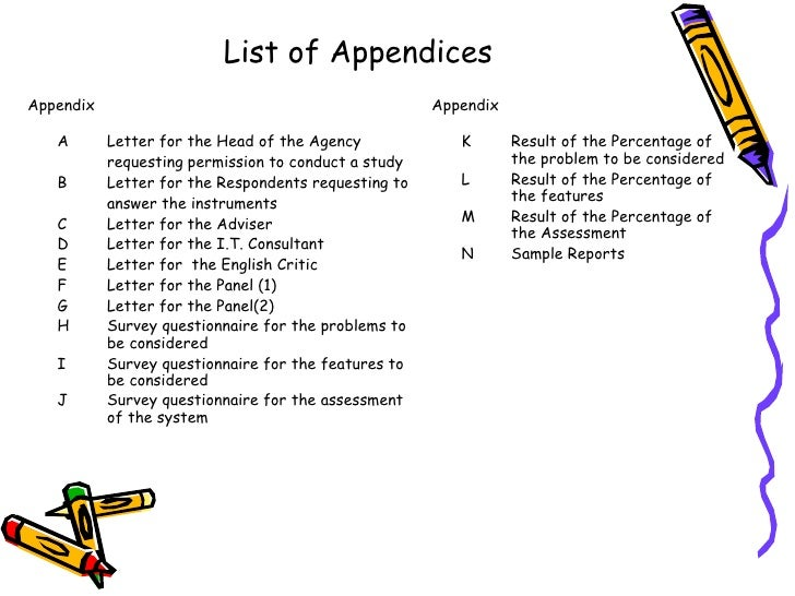 thesis appendices example