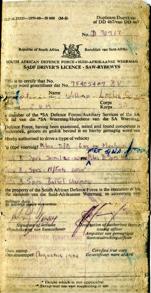 WL Grieve SADF Drivers Licence