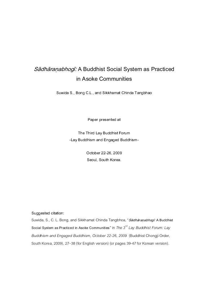 Sadharanabhogi - a Buddhist Social System as Practised in Asoke Communities
