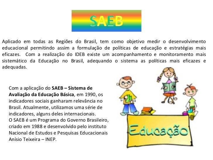Aplicado em todas as Regiões do Brasil, tem como objetivo medir o desenvolvimento educacional permitindo assim a formulaçã...