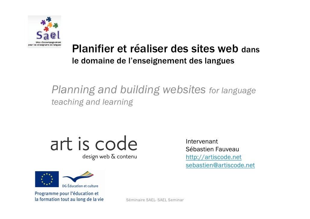 Planifier et réaliser des sites web dans      le domaine de l'enseignement des langues   Planning and building websites fo...