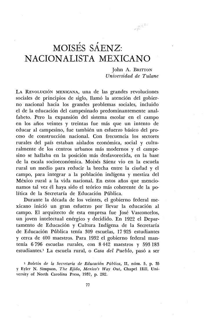 MOISÉS SÁENZ:     NACIONALISTA MEXICANO                                                                          John A . ...