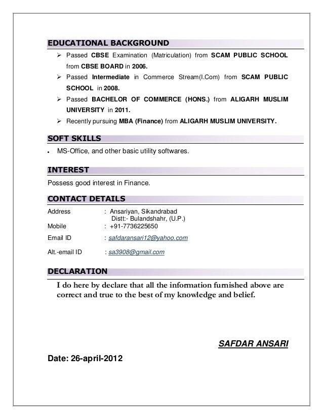 Resume Educational Background. cv educational background ...
