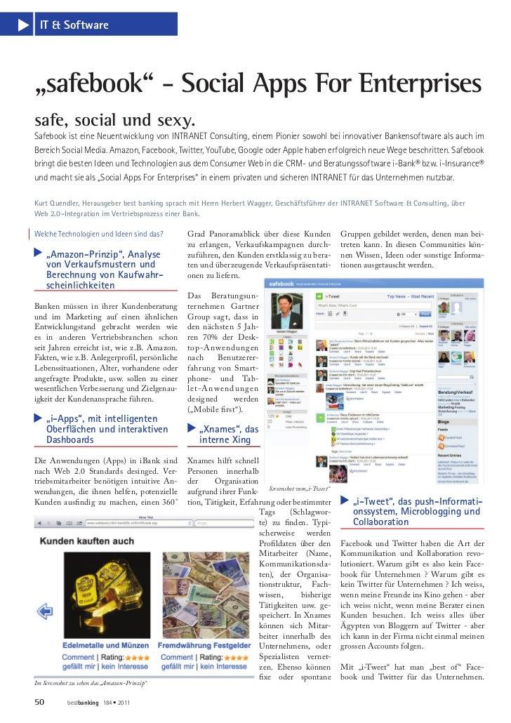 """IT & Softwares    """"safebook"""" - Social Apps For Enterprises    safe, social und sexy.    Safebook ist eine Neuentwicklung v..."""