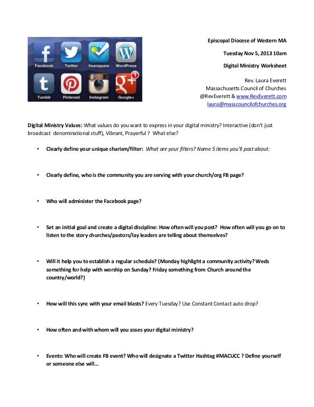 Safe church & digital ministry strategy worksheet w resource guide 11.5.13
