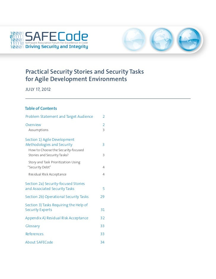 Practical Security Stories and Security Tasksfor Agile Development EnvironmentsJULY 17, 2012Table of ContentsProblem State...