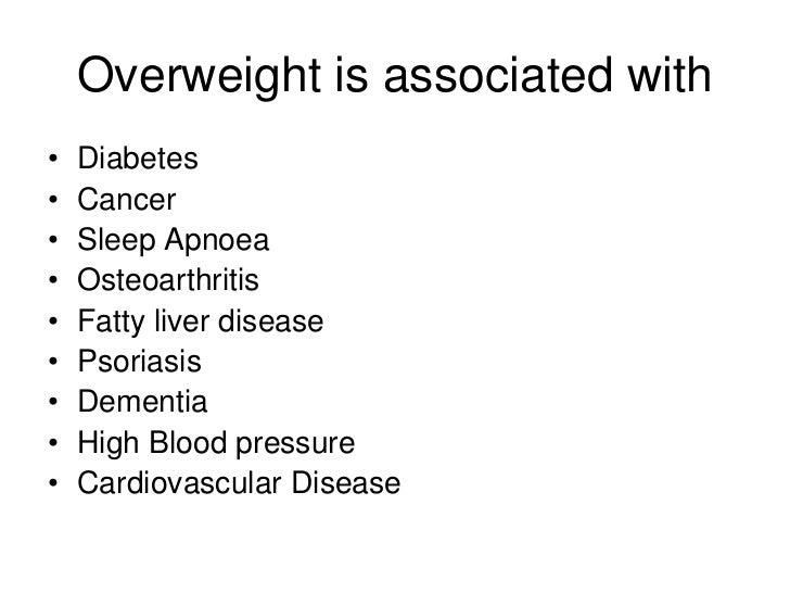 Overweight is associated with•   Diabetes•   Cancer•   Sleep Apnoea•   Osteoarthritis•   Fatty liver disease•   Psoriasis•...