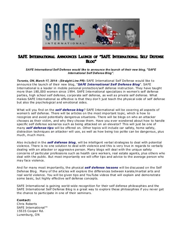 """SAFE International Announces Launch of """"SAFE International Self Defense Blog"""" SAFE International Self Defense would like t..."""