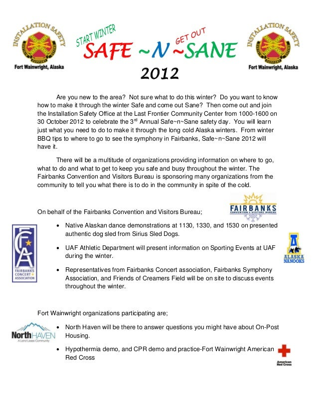 SAFE ~N ~SANE                                     2012       Are you new to the area? Not sure what to do this winter? Do ...