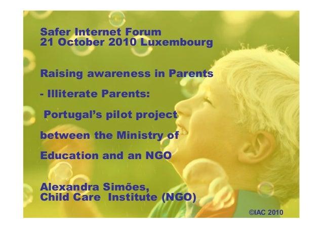 Parents and online technologies - Raising awareness of Parents - Illiterate Parents (Alexandra Simões)