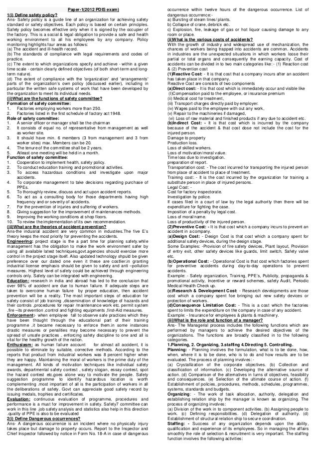 Paper-1(2012 PDIS exam)                          occurrence within twelve hours of the dangerous occurrence. List of1(i) D...