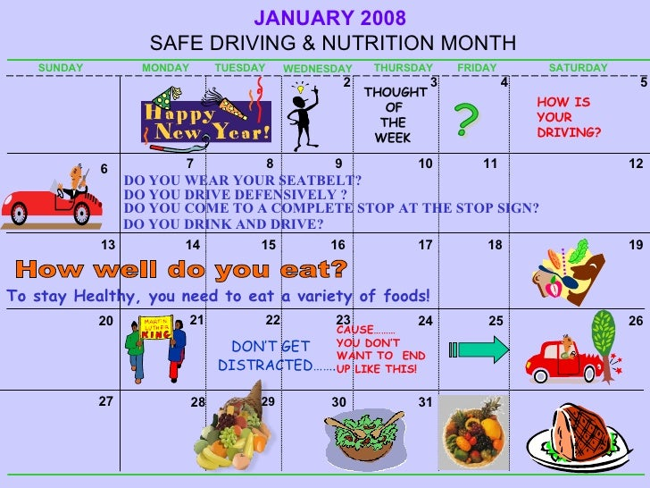 DON'T GET DISTRACTED……. JANUARY   2008  SAFE DRIVING & NUTRITION MONTH SUNDAY MONDAY TUESDAY WEDNESDAY THURSDAY FRIDAY SAT...