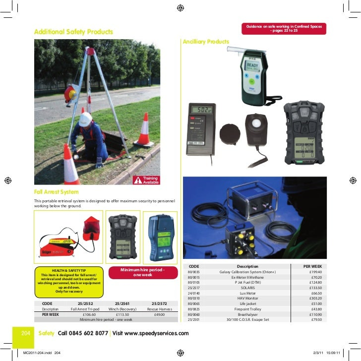 Guidance on safe working in Confined Spaces      Additional Safety Products                                               ...