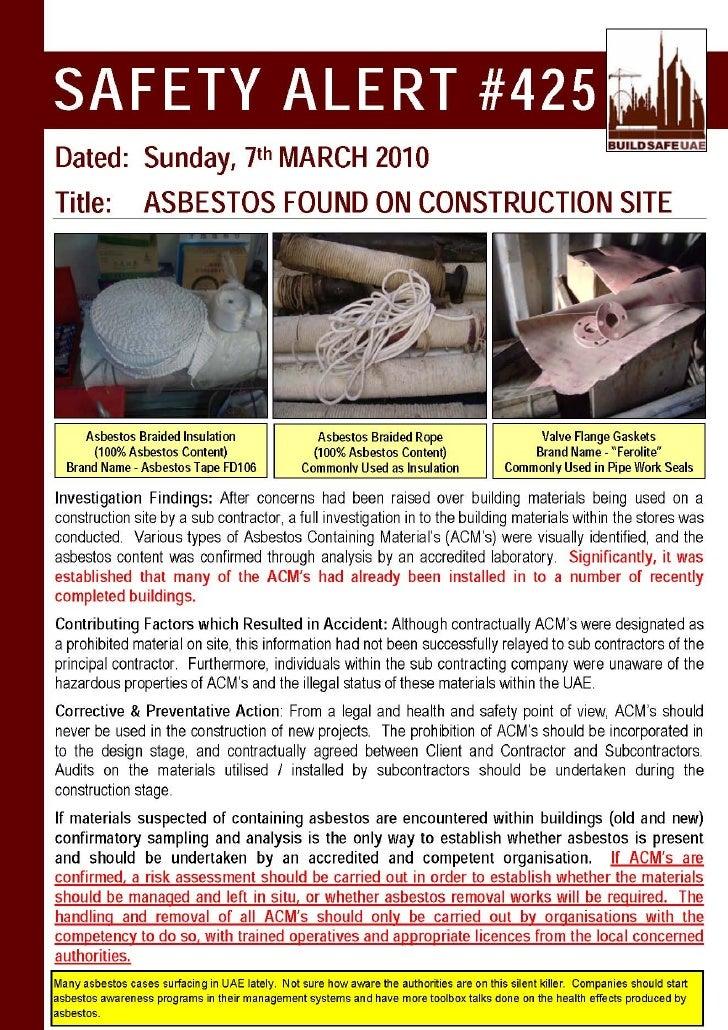Safety Alert Asbestos Found On Construction Site