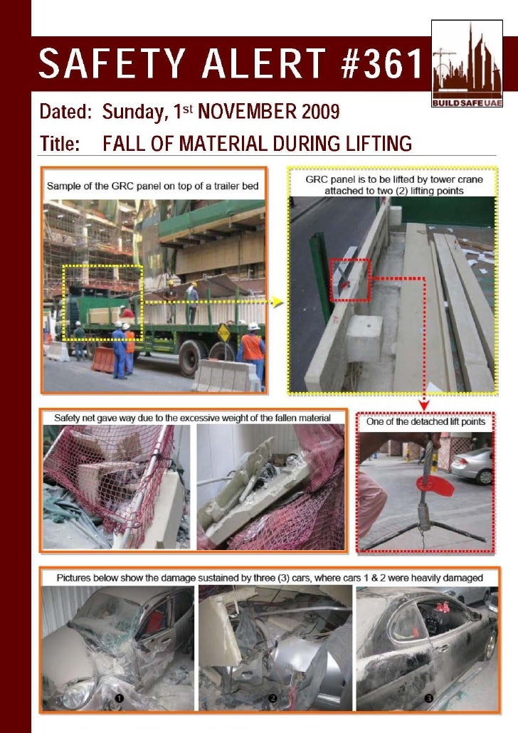 Safety Alert Fall Of Material During Lifting