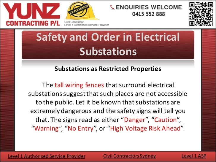 Safety and order in electrical substations