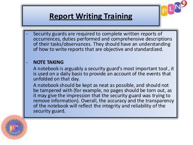 security report writing training Professional security training network  for security professionals with a pstn training subscription you'll  report writing, ethical conduct,.