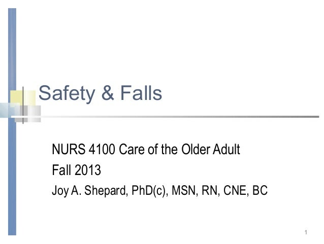 1Safety & FallsNURS 4100 Care of the Older AdultFall 2013Joy A. Shepard, PhD(c), MSN, RN, CNE, BC