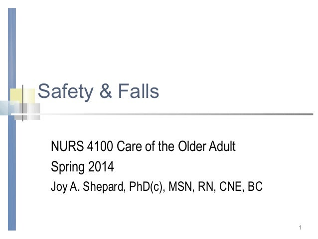 Safety & Falls NURS 4100 Care of the Older Adult Spring 2014 Joy A. Shepard, PhD(c), MSN, RN, CNE, BC 1
