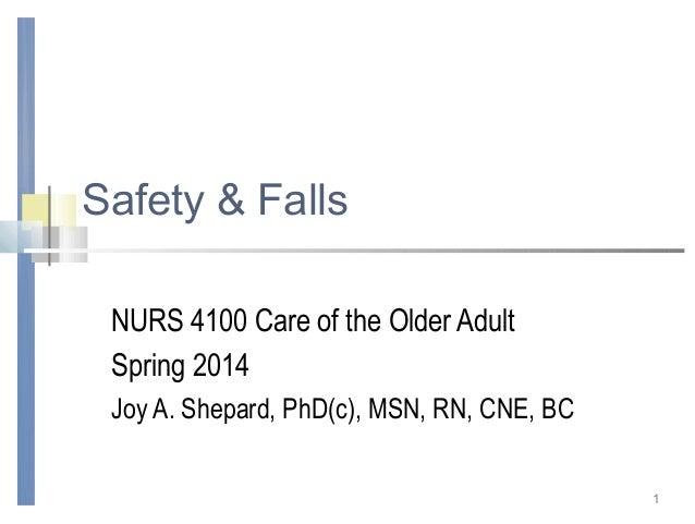 Safety & Falls NURS 4100 Care of the Older Adult Spring 2014 Joy A. Shepard, PhD(c), MSN, RN, CNE, BC 1