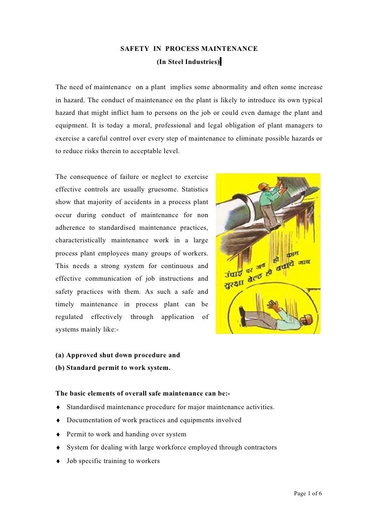 Safety in maintenance process, By B C Das