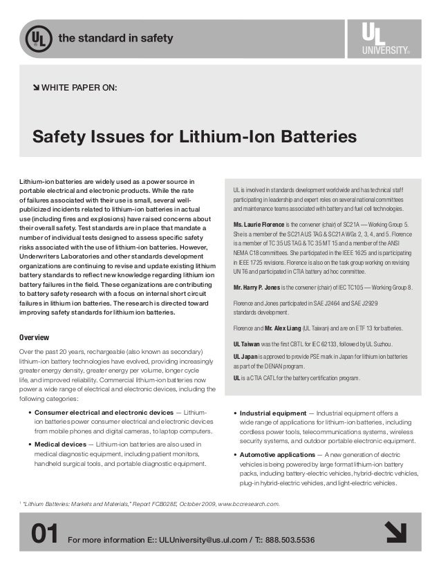 01 For more information E:: ULUniversity@us.ul.com / T:: 888.503.5536 Safety Issues for Lithium-Ion Batteries Lithium-ion ...