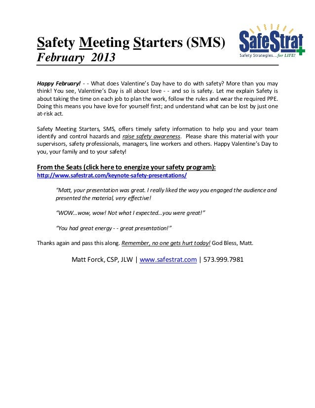 Safety Meeting Starters (SMS)February 2013Happy February! - - What does Valentine's Day have to do with safety? More than ...