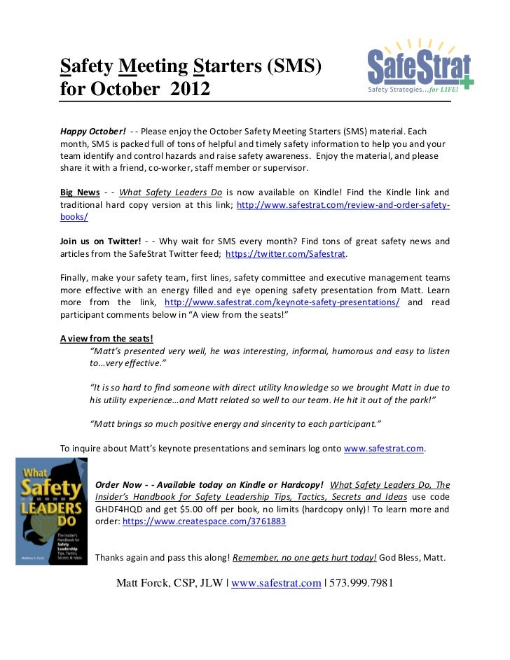 Safety Meeting Starters (SMS)for October 2012Happy October! - - Please enjoy the October Safety Meeting Starters (SMS) mat...