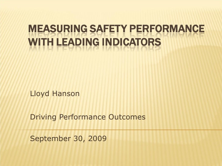 Lloyd Hanson Driving Performance Outcomes September 30, 2009