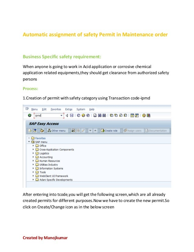 Safety permit with ipmd SAP