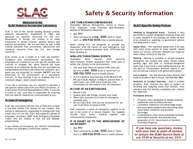 SLAC Stanford Linear Accelerator Saftey Procedures