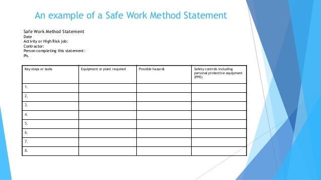 Work Method Statement Example – Example Method Statement