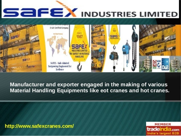 Manufacturer and exporter engaged in the making of various Material Handling Equipments like eot cranes and hot cranes.  h...