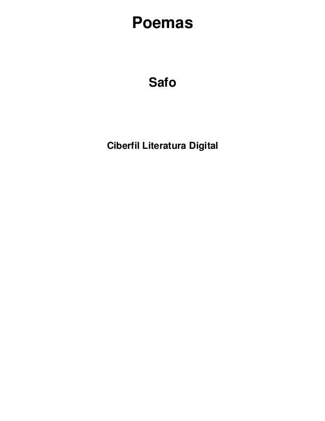 Poemas  Safo  Ciberfil Literatura Digital