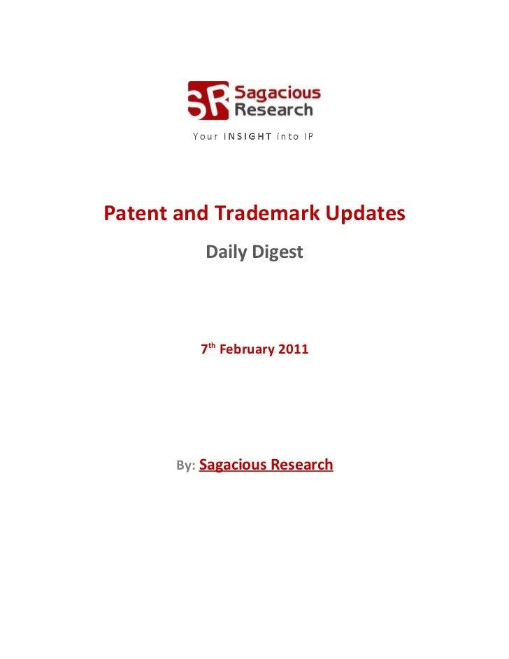 Sagacious research   patent and  trademark updates – 7-january 2012