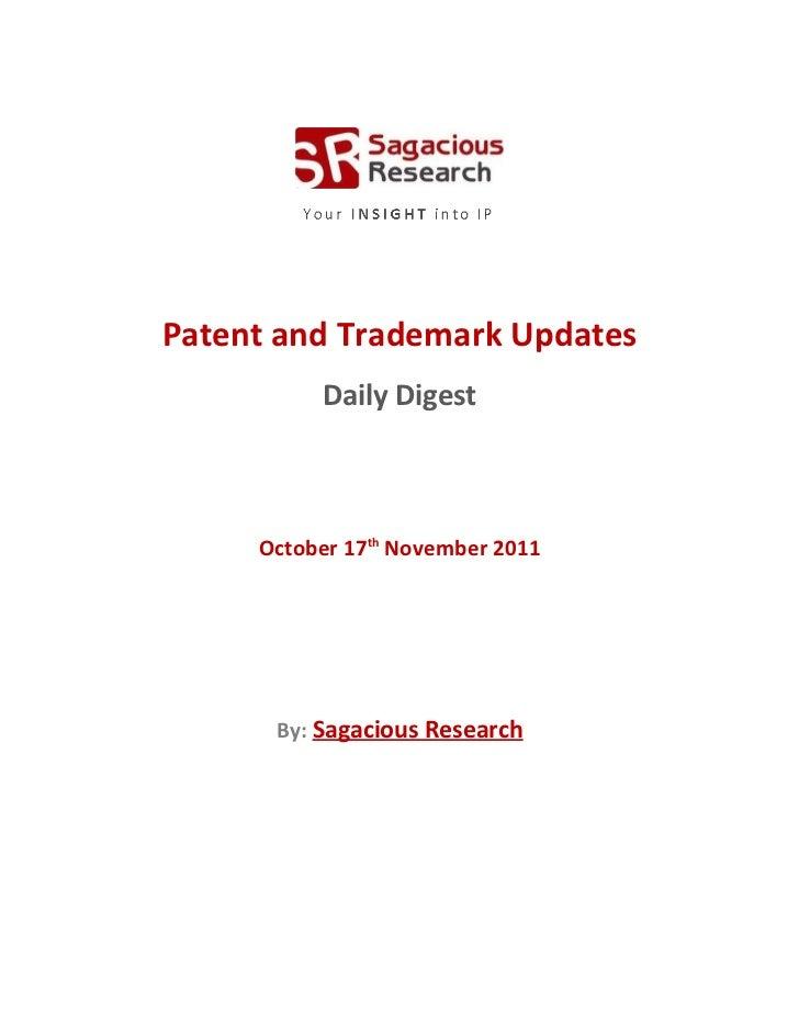 Sagacious research   patent & trademark updates – 17th november, 2011