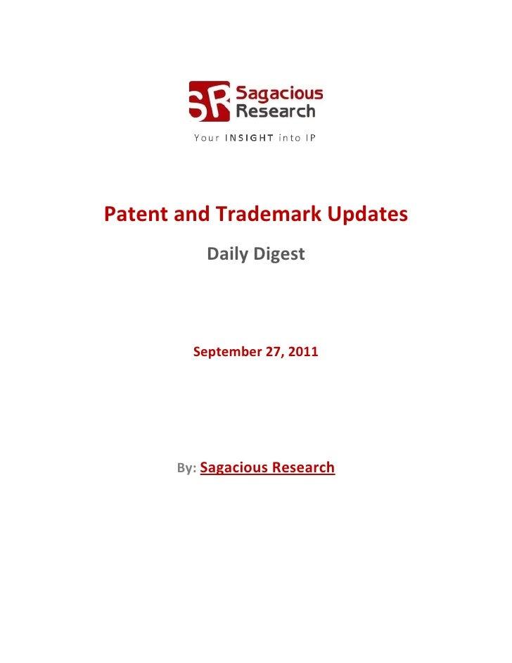 Sagacious research   patent & trademark updates – september 27, 2011