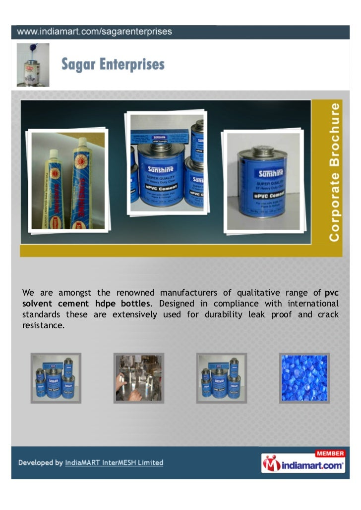 We are amongst the renowned manufacturers of qualitative range of pvcsolvent cement hdpe bottles. Designed in compliance w...