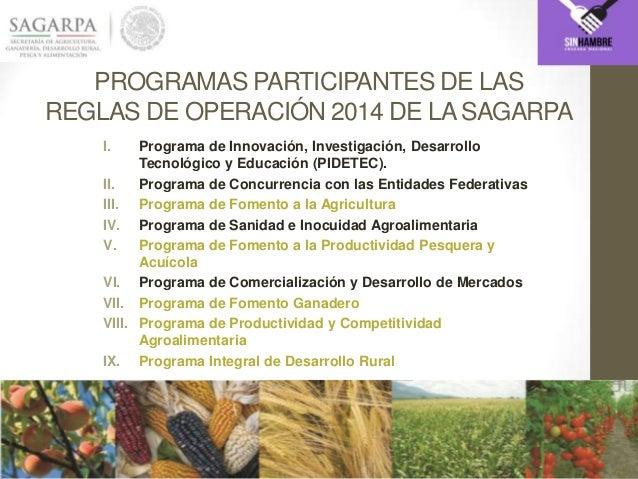 PROGRAMAS PARTICIPANTES DE LAS REGLAS DE OPERACIÓN 2014 DE LASAGARPA I. Programa de Innovación, Investigación, Desarrollo ...