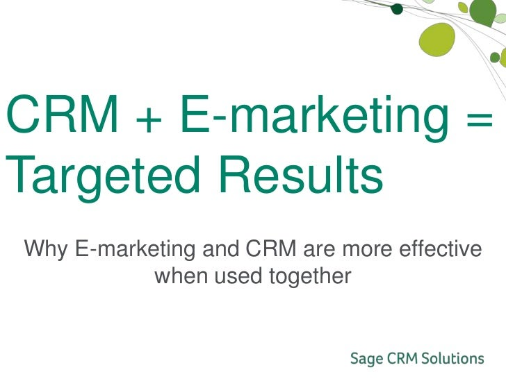 Sage e-Marketing and CRM