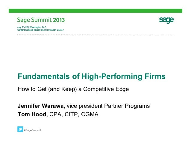 Sage Summit - Fundamentals of High Performing Firms