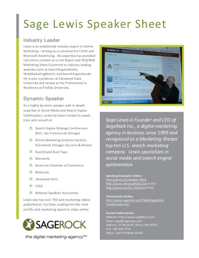 Sage Lewis Speaker Sheet