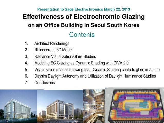 Presentation to Sage Electrochromics March 22, 2013 Effectiveness of Electrochromic Glazing on an Office Building in Seoul...
