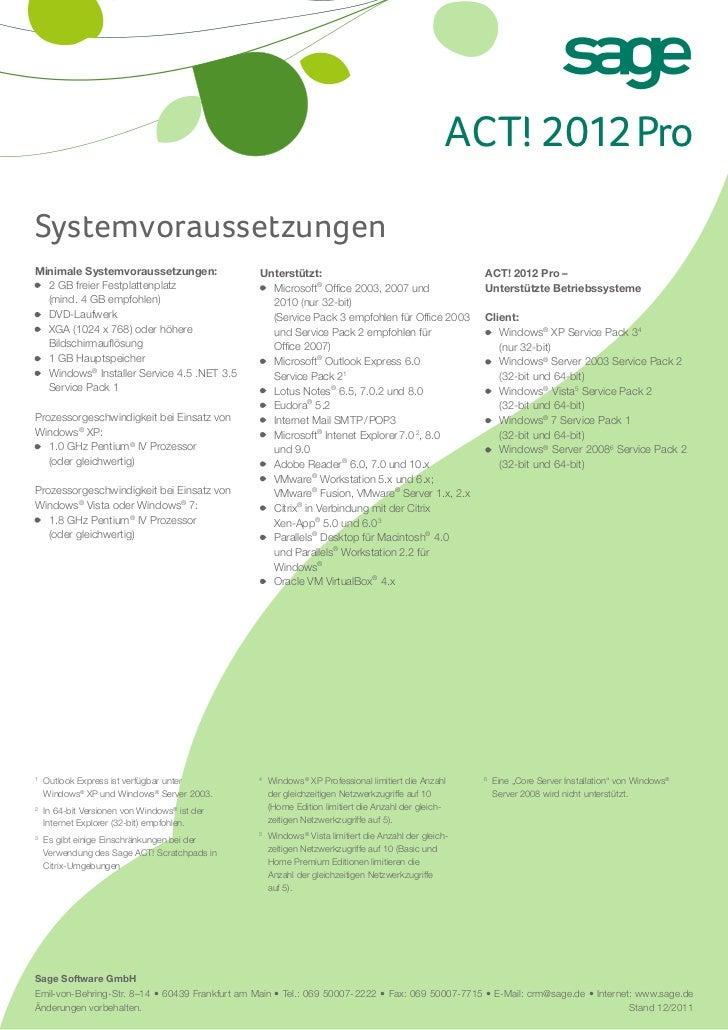 Sage ACTt! 2012 PRO Systemvoraussetzungen