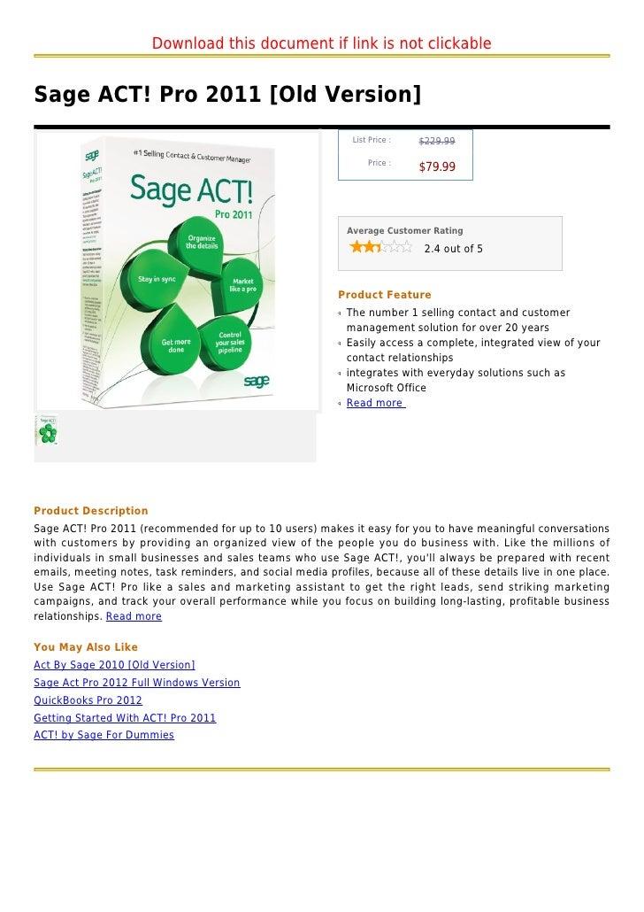 Sage act! pro 2011 [old version]
