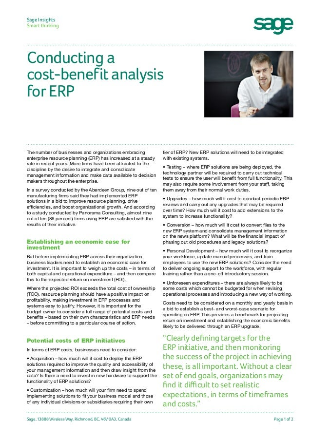 Sage Insights Smart thinking  Conducting a cost-benefit analysis for ERP  The number of businesses and organizations embr...
