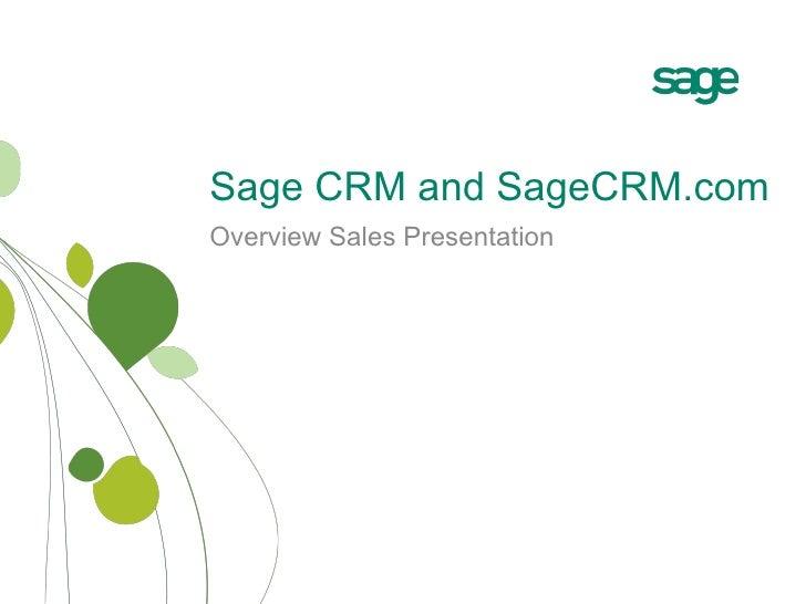 Overview Sales Presentation Sage CRM and SageCRM.com