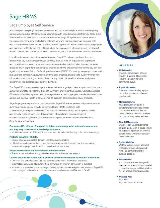 Sage Employee Self Service Feature Sheet