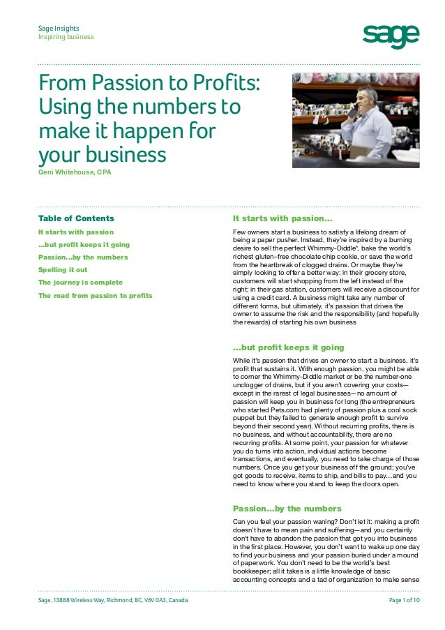 Sage Insights Inspiring business  From Passion to Profits: Using the numbers to make it happen for your business Geni Whit...